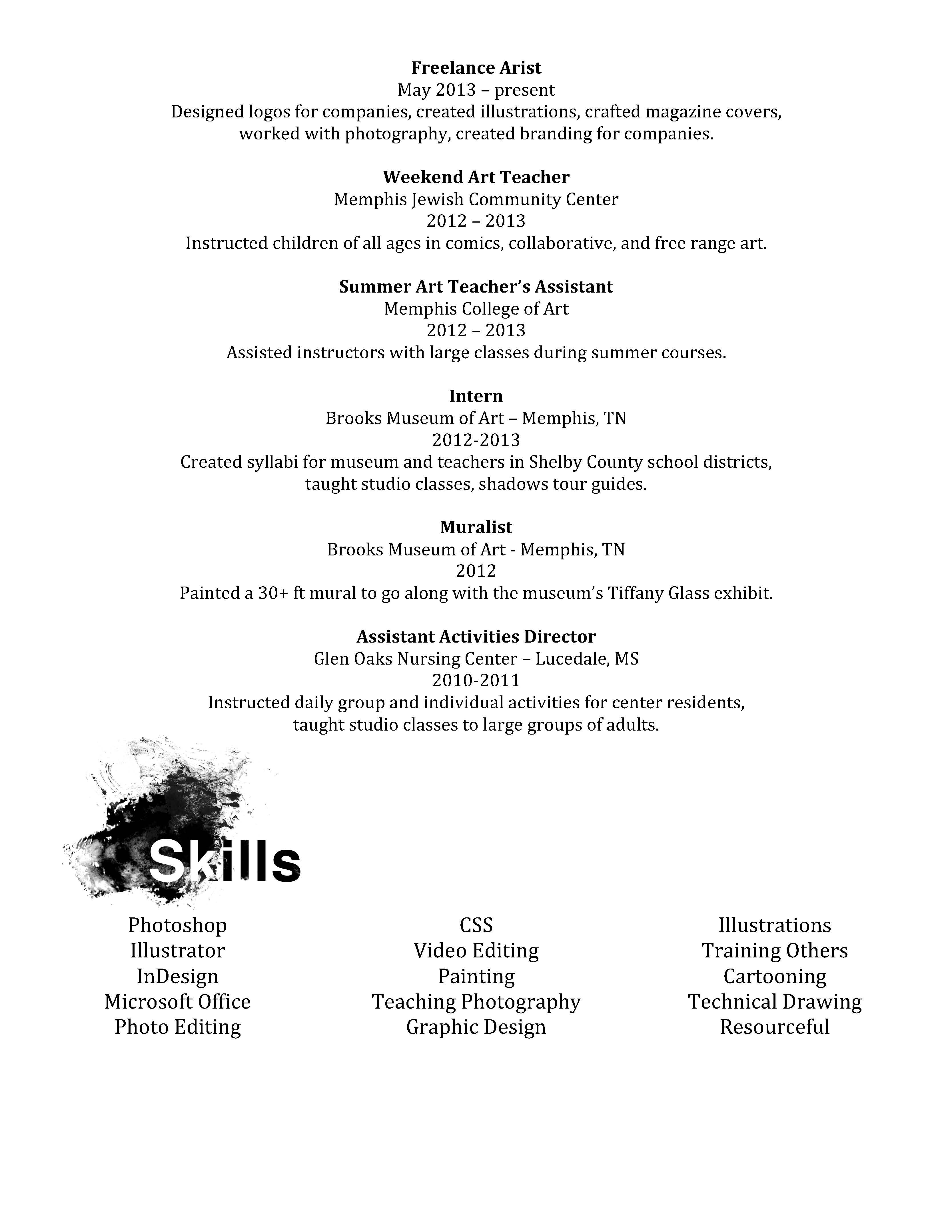 Resume | Shelby Can Draw Too!