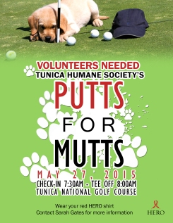 Putts for Mutts Volunteer Back of House poster